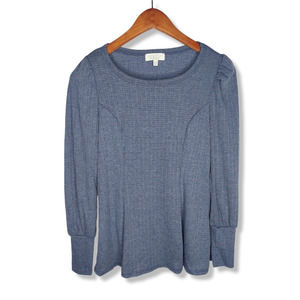 Status by Chenault Gray Blue Peasant Long Sleeve Top XS